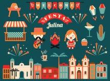 Día de fiesta latinoamericano, el partido de junio del Brasil Imágenes de archivo libres de regalías