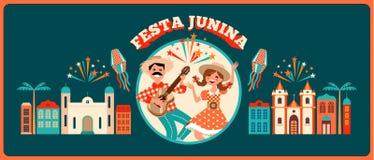 Día de fiesta latinoamericano, el partido de junio del Brasil Ilustración del vector Fotografía de archivo libre de regalías