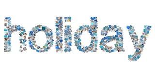 Día de fiesta-palabra en imágenes - concepto para las vacaciones de verano. Foto de archivo libre de regalías