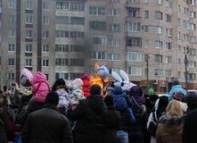 Día de fiesta popular ruso Shrovetide, en Gatchina, región de Leningrad, foto de archivo