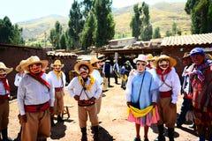 Día de fiesta religioso en Pampamarka Imagenes de archivo