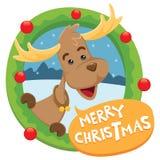 Día de fiesta de saludo de la feliz Navidad de los ciervos en círculo verde Imágenes de archivo libres de regalías