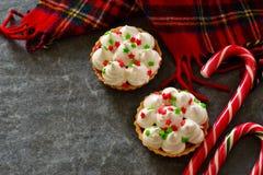 Día de fiesta, tartlets de la Navidad con el merengue Imagenes de archivo