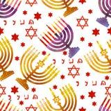 Día de fiesta tradicional judío Hannukah Modelo inconsútil Imágenes de archivo libres de regalías