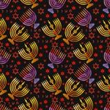 Día de fiesta tradicional judío Hannukah Modelo inconsútil Foto de archivo libre de regalías