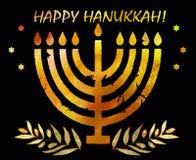 Día de fiesta tradicional judío Hannukah Tarjeta de felicitación de la acuarela Imagen de archivo