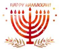 Día de fiesta tradicional judío Hannukah Tarjeta de felicitación de la acuarela Foto de archivo