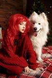 Día de fiesta y la Navidad del perro del invierno Una muchacha en un suéter hecho punto y con el pelo rojo con un animal doméstic Foto de archivo libre de regalías