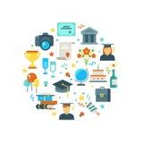 Día de graduación y aprendizaje de concepto del vector con los iconos graduados del partido ilustración del vector