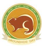 Día de Groundhog. Escritura de la etiqueta del vector Foto de archivo libre de regalías