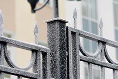 Día de invierno congelado de la cerca Imagen de archivo libre de regalías