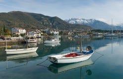 Día de invierno en la bahía de Kotor montenegro Imagen de archivo libre de regalías