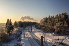 Día de invierno ferroviario Imagenes de archivo
