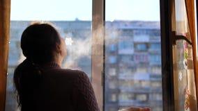Día de invierno frío La muchacha abre la ventana y respira en el aire escarchado metrajes