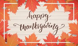 Día de la acción de gracias Dé las letras en el fondo de madera con follaje de moda del otoño Fotografía de archivo libre de regalías
