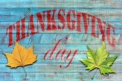 Día de la acción de gracias en fondo de madera azul Fotografía de archivo libre de regalías