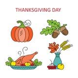 Día de la acción de gracias de los iconos ilustración del vector