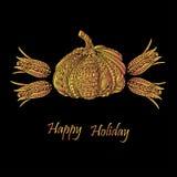 Día de la acción de gracias o tarjeta del feliz Halloween con la calabaza y los granos Foto de archivo