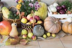 Día de la acción de gracias Todavía vida de verduras y de frutas Imagen de archivo libre de regalías