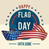 Día de la bandera de tarjeta de felicitación de Estados Unidos stock de ilustración
