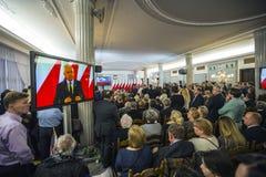 Día de la bandera en el parlamento polaco RP Fotografía de archivo