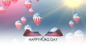 Día de la bandera feliz, bandera de agitar de Estados Unidos stock de ilustración