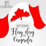 Día de la bandera nacional de tarjeta de felicitación de Canadá Ilustración del vector Imágenes de archivo libres de regalías