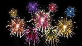 Día de la celebración con los fuegos artificiales fotografía de archivo