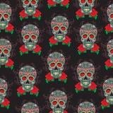 Día de la celebración muerta, un festival en México Modelo inconsútil de Sugar Skull, fondo esquelético, textura, papel pintado Imágenes de archivo libres de regalías