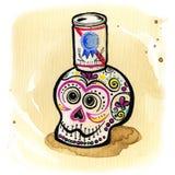 Día de la cerveza muerta del cráneo Fotografía de archivo