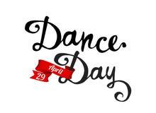 Día de la danza 29 de abril Palabras escritas de la mano Foto de archivo
