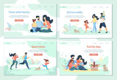 Día de la familia, ocio, tiempo del deporte, paseos activos stock de ilustración
