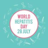 Día de la hepatitis del mundo Ejemplo médico dibujado mano Fondo del vector de la farmacia Imagen de archivo