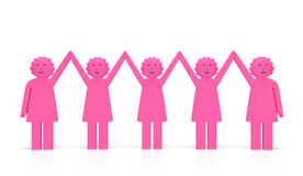Día de la igualdad de las mujeres o concepto del feminismo Mujeres sonrientes unidas felices Foto de archivo libre de regalías