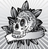 Día de la ilustración muerta del vector del cráneo del festival Fotos de archivo libres de regalías