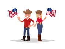 Día de la Independencia americano El hombre y la mujer vestidos en trajes nacionales están sosteniendo banderas americanas Stock de ilustración
