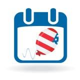 Día de la Independencia - calendario con el globo Fotografía de archivo libre de regalías