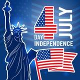 Día de la Independencia cartel del 4 de julio Diseñe la plantilla con la estatua del cartel de los E.E.U.U. de la libertad con el ilustración del vector