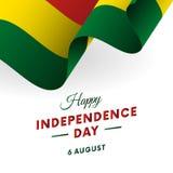 Día de la Independencia de Bolivia 6 de agosto bandera que agita Vector stock de ilustración