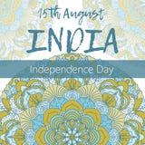 Día de la Independencia de la India el 15 de agosto con la mandala Foto de archivo