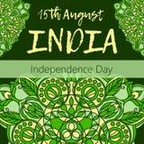 Día de la Independencia de la India el 15 de agosto con la mandala Imagenes de archivo