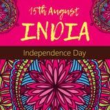Día de la Independencia de la India el 15 de agosto con la mandala Modelo oriental, ejemplo Islam, adorno turco indio árabe Fotografía de archivo