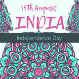 Día de la Independencia de la India el 15 de agosto con la mandala Modelo oriental, ejemplo Islam, adorno turco indio árabe Imágenes de archivo libres de regalías