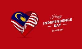 Día de la Independencia de Malasia 31 de agosto bandera que agita en corazón Vector stock de ilustración