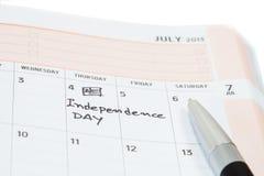 Día de la Independencia en calendario Imagenes de archivo