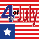 Día de la Independencia feliz de los E.E.U.U. Cuarto del cartel de julio 4 de julio bandera Etiqueta de julio del cuarto Letras d Fotos de archivo libres de regalías
