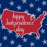 Día de la Independencia feliz de la inscripción y mapa de los Estados Unidos de América Imagenes de archivo