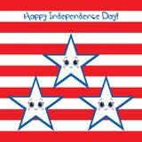 ¡Día de la Independencia feliz los E.E.U.U.! Tarjeta de felicitación Fotos de archivo
