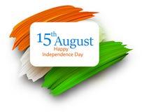 Día de la Independencia de la India décimo quinto August Card con la bandera nacional ilustración del vector