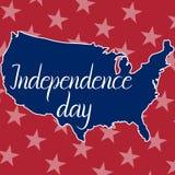 Día de la Independencia de la inscripción y mapa de los Estados Unidos de América Fotos de archivo